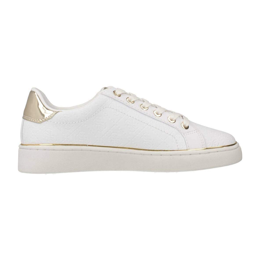 Detalles de Zapatos Guess Mujer Zapatillas Beckie Estampado Logo 4G Blanco FL5BEKFAL12