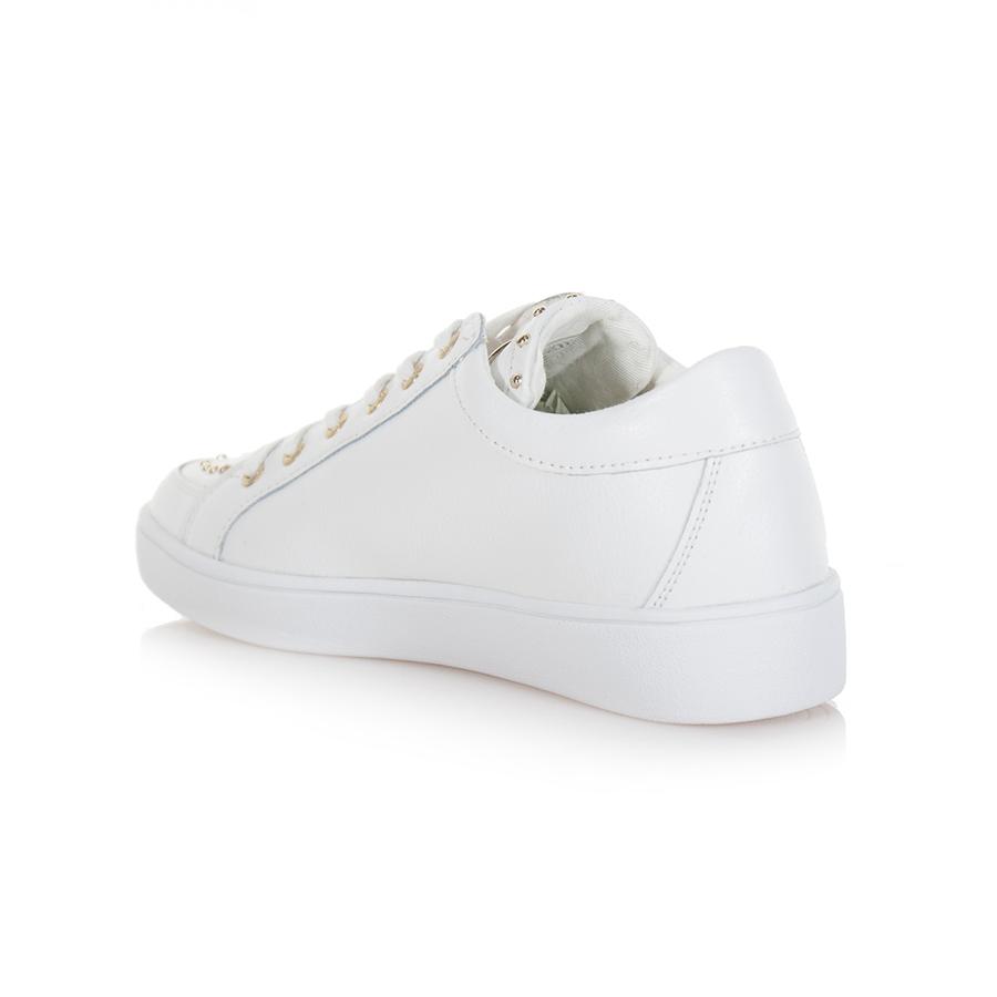 Borchie FLGNA1LEA12 35 Scarpe Lacci Pelle Sneaker Donna White GLINNA Guess n° 7YwxvW