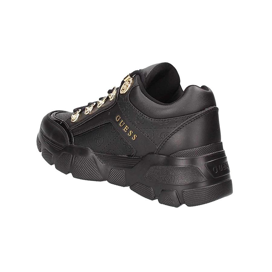 Guess Donna Nero Sneaker In Pelle Logata Con Applicazione